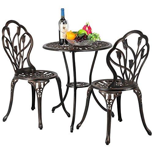 Yaheetech 3tlg. Bistro Set Balkonset Gartenset mit Stühlen Gartenmöbel-Set Zwei Sitzhocker...