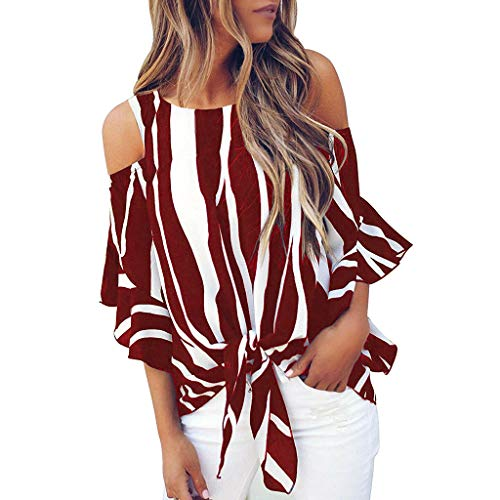 Purchase Sayhi Hot Sales Women Fashion Cold Shoulder Striped Tops Tee Tie Knot Casual Blouses Tops A...