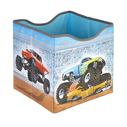 Collapsible Fabric Storage Cube Organizer, with Structured Bottom (Monster Truck)