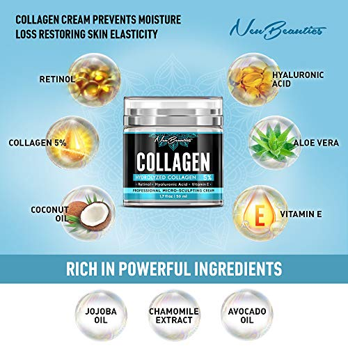 51GoOMX6UaL - Collagen Cream - Organic Day and Night Cream - Made in USA - Anti Aging & Wrinkle Face Firming Cream - Face Moisturizer for Women & Men - Gentle Collagen Cream with Hyaluronic Acid & Retinol