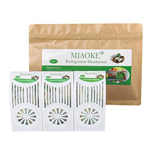 MIAOKE 3 Pack Refrigerator Deodorizer, Fridge and Freezer Odor Eliminator, Outperforms Baking Soda