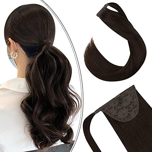Ugeat 24 Pouces Clip Queue de Cheval Cheveux Humain Marron Fonce 80GR Meche de Cheveux Ponytail Easy Wrap Around Chocolat Brun #4