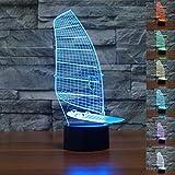 GYBYB Sailboard Shape 3D Nachtlicht 7 Farben Farbverlauf Windsurfen USB LED Tischleuchte
