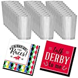 Kentucky Derby Party Supplies - Silver Plastic Mint Julep Cups (30 Count) and Derby Cocktail Napkins (32 Count)