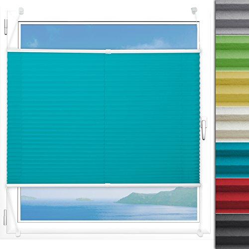 Plissee Rollo Magic | moderner Sichtschutz mit Crushed Optik | Fensterrollo mit Klemmfix ohne Bohren | Klemmrollo Größen (Türkis - 120 cm breit und 100 cm lang)