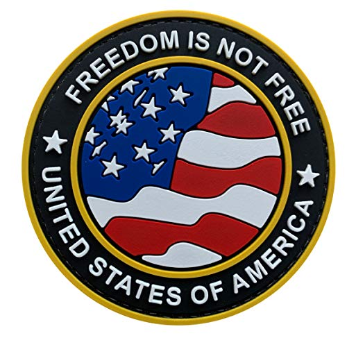 Uuken Freedom is Not Free 3' Round Military US Flag PVC Rubber Tactical Patch Hook Backing for Military Uniform Backpacks Jackets Vests (FIF-Yellow)