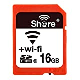 GuDoQi Wireless WiFi Scheda SD 16GB SDHC Classe 10 Scheda di Memoria Flash per Canon Nikon Casio Digitale SLR (Elettronica)