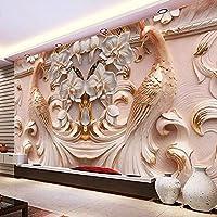 写真の壁紙3D立体レリーフ孔雀蝶花の背景壁リビングルームのテレビのための大きな壁画の壁紙 140cmx100cm