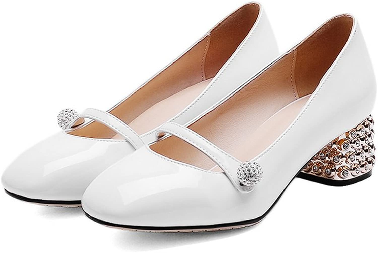 AdeeSu Ladies Glass Diamond Solid Square-Toe Patent Leather Pumps shoes