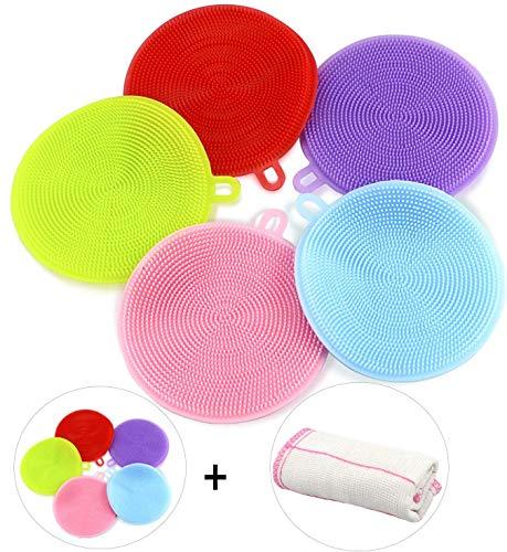 Gifort BPA Frei Silikon Schwamm, Food Grade Multi-Purpose Antibakterielle Silikon Scrubber Schwamm Reinigungsbürste Küche & Bad (5 Pack Round)