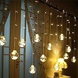 Yousir Guirnalda de luces LED para cortina, funciona con pilas, luz blanca cálida, para decoración navideña