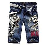 Pantalones cortos de mezclilla para hombre Tendencia europea y americana Pantalones vaqueros estampados con...