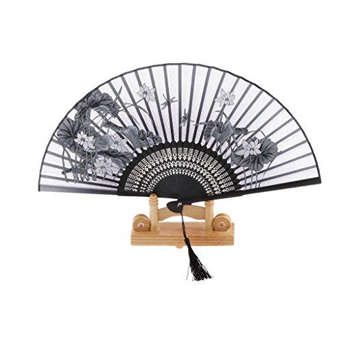 Ventilador de Mano Abanico Plegable de Seda Flor de Loto 8 Pulgadas Bolso de Bambú Verano