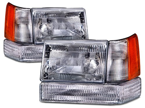 HEADLIGHTSDEPOT Chrome Housing Halogen Headlights Compatible With Jeep Grand Cherokee 1993-1996 Includes Left Driver and Right Passenger Side Headlamps 6 Piece Set