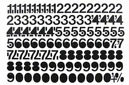 Collectievellen, folie cijfers 50 mm zwart met leestekens en speciale tekens, aantal cijfers: 0 = 11 x, 1 = 10 x 2 = 10 x 3 = 10 x 4 = 10 x 5 = 10 x 6 = 12 x 7 = 11 x 8 = 12 x 9 = 11 x 11 x 9 = 11 x