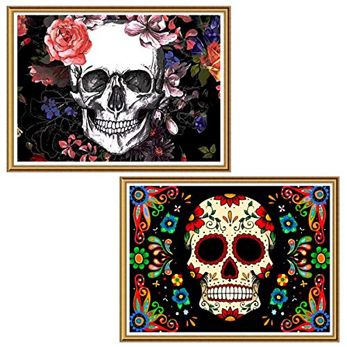 Ginfonr 5D Diamond Painting Halloween Colorful Skull Full Drill by Number Kits, 2 Pack Flower Skeleton Paint with Diamonds Art Crystal DIY Rhinestone Decor Wall Craft 30x40 cm (12'x16')