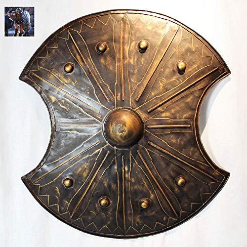 Antiguo Troy Trojan War Shield Escudo Griego Antiguo Ligero y Fuerte Artesana de Metal Hecha a Mano para Caballero Soldado Guerrero Disfraz Juego de Batalla Halloween Cosplay 48X20x72cm