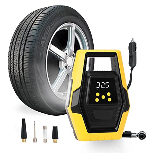 KARCOCA Air Compressor Tire Inflator, DC 12V Digital Air Pump for Car Tires with LED Light, Auto-Off Tire Inflator with Pressure Gauge