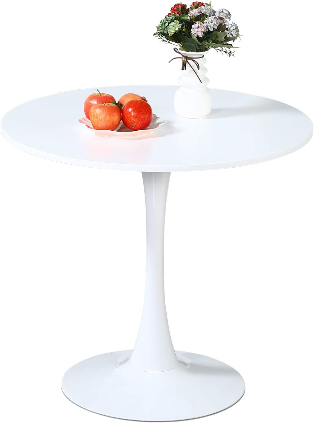 """9.9"""" White Round Dining Table   Modern Dining Room Table with MDF Table  Top and Metal Pedestal Base for Kitchen and Dining Room Leisure Table for 9  ..."""