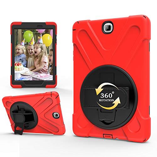 TianTa Funda Galaxy Tab Tab S2 8.0 SM-T710, Híbrido Tres Capas Funda Robusto Defender Cover con Soporte 360° Rotativo Asa de Mano para Samsung Galaxy Tab S2 8.0 Pulgadas SM-T710 / T715 - Rojo