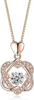 Necklaces قلادة الصيف الإناث الاسترليني الفضة تصميم الشعور بمعنى تصميم قلادة هدية عيد الأصدقاء Necklace for Women (Color : B)