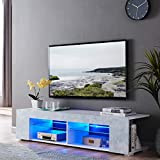 57 inch Tv Stand for 65 inch tv, LED TV Cabinet TV Entertainment Center Modern TV Console Table Television Stands, Storage Home Media Cabinets with Shelves for Living Room, Grey
