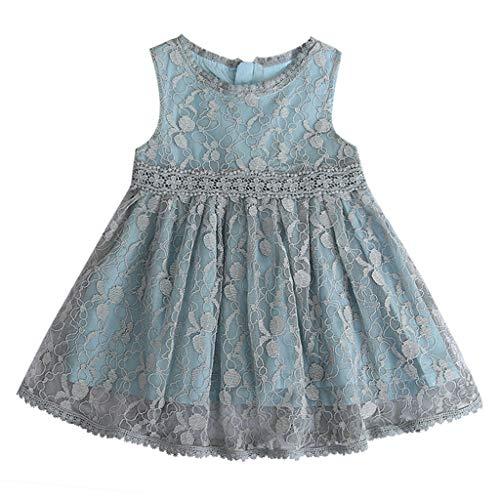 YWLINK MäDchen Mesh Retro Elegant ÄRmellos Kleiden Süß Knielang Spitze Patchwork Party Urlaub Prinzessin Kleid(Grau,120)