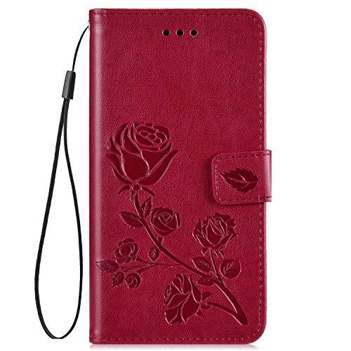 Hpory Kompatibel mit Huawei Y6 2018 Hülle, Huawei Y6 2018 Handyhülle Retro Muster PU Leder mit Handschlaufe Strap Geldbörse Wallet Case Cover Schutzhülle Tasche + 1 x Hpory Stylus - Rose Rot
