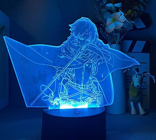 Attack on Titan Light Captain Levi Lámpara de noche 3D, 7 colores Figura de anime Lámpara de ilusión LED y 100 pegatinas de anime para regalo de cumpleaños - Control remoto