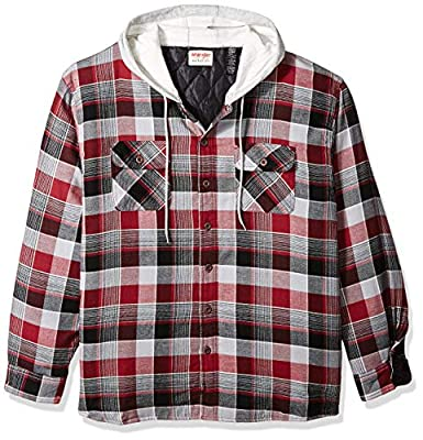 Wrangler Authentics Men's Long Sleeve Quilted Lined Flannel Shirt Jacket with Hood, Biking Red with Gray, Medium from Wrangler Authentics Men's Sportswear