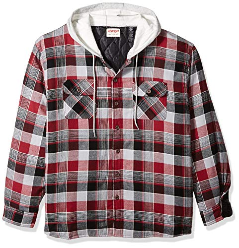 Wrangler Authentics Men's Long Sleeve Quilted Lined Flannel Shirt Jacket with Hood,Biking Red,Small