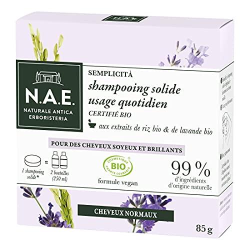 N.A.E. - Shampooing Solide Certifié Bio - Usage Quotidien Cheveux Normaux - Extraits de Riz Bio et de Lavande Bio - Formule Vegan - 100 % d'ingrédients d'origine naturelle - Savon de 85 g