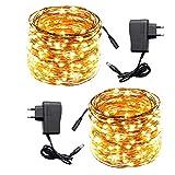 ACDE 2 Pezzi Catena Luminosa 10 Metri 100 LED con EU Adattatore, Impermeabili Decorative Luci Stringa per Natale Terrazza Giardino Festa Nozze--Giallo Caldo