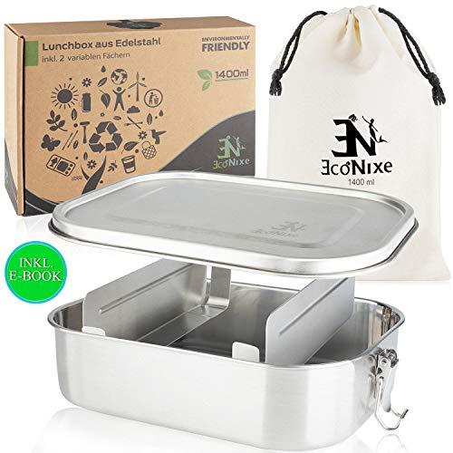 Econixe Brotdose Edelstahl mit 2 variablen Trennwänden + Beutel I Auslaufsichere Lunchbox, BPA- & plastikfreie Lunch Brotzeitbox mit Unterteilung [1400ml] Nachhaltige Brotbox auch für Kinder + eBook