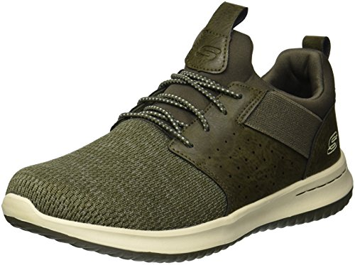 Skechers Men's Classic Fit-Delson-Camden Sneaker, Olive, 10.5 M US