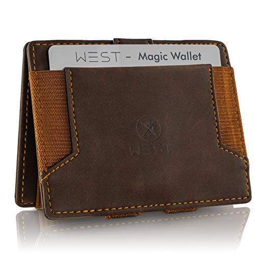 WEST - Magic Wallet (Braun) - Der HINGUCKER (kleines Münzfach) - inklusive Edler Geschenkbox - Geldbeutel mit Münzfach - Der perfekte Begleiter für unterwegs - RFID Datenschutz