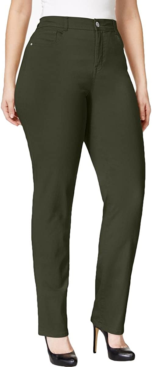 Style & Co. Womens Plus Tummy Control High Rise Slim Leg Jeans Green 24W