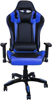 huigou HG Silla Giratoria De Oficina Gaming Chair Apoyabrazos Acolchados Silla Racing (Negro/Azul