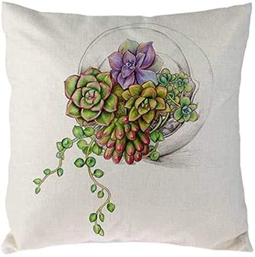 Nyfcc Pillowcase, Cactus Succulent Plants Pillow Covers Watercolor Flower Cushion Cover, Home & Garden (Color : I, Size : -)