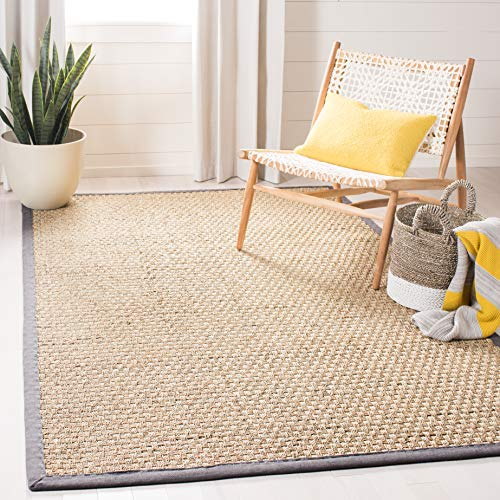 Safavieh Natural Fiber Collection NF114Q Basketweave Natural and Dark Grey Summer Seagrass Area Rug (5' x 8')