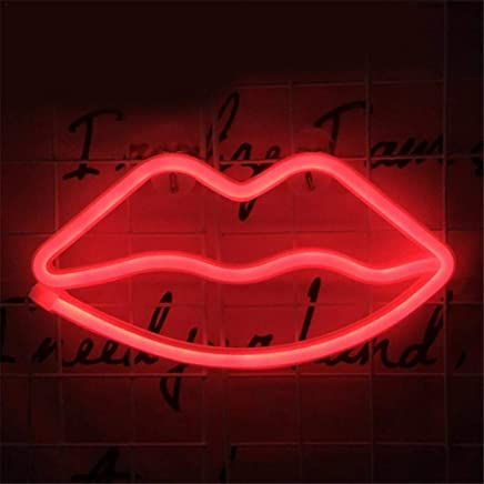 Lip Neon Sign Usb Rouge 3 Piles Aa Powered Neon Led