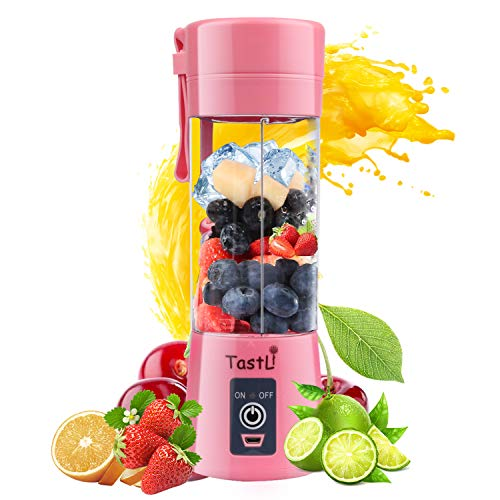 TastLi Portable Blender, Personal Mini Bottle Travel Electric Smoothie Blender Maker Fruit Juicer Cup, with 13oz Bottles, 6 Blades and USB Rechargeable Batteries for juice shakes and smoothies (Pink)
