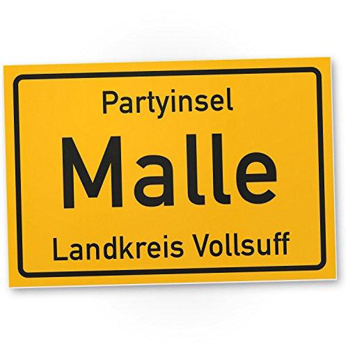 DankeDir! Partyinsel Malle - Kunststoff Schild (30 x 20 cm), Lustige Geschenkidee Geburtstagsgeschenk Bester Freund/Sauf-Kumpel, Kleines Geschenk Männer, Mallorca-Party Zubehör, Deko Trinkspiele