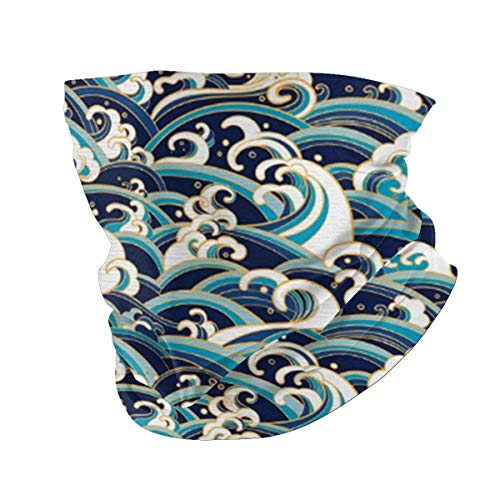 Traditioneller orientalischer Stil Ozean-Wellen mit Schaumstoff und Spritzern, Seiden-Bandana, Sonnenschutz, UV-Schutzfilter, absorbiert Schweiß, waschbar, wiederverwendbar
