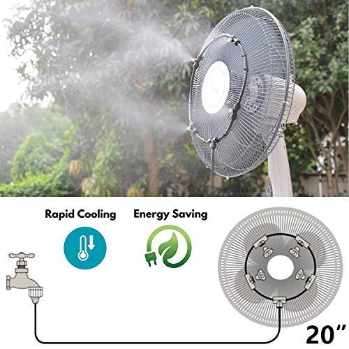 Sprühnebel Kühlung für Standventilator Terrasse Garten Gewächshaus Pavillon Wasserzerstäuber, Bewässerungssystem Outdoor Misting System Wasser Cooling Sprinkler System (Size : 20'')