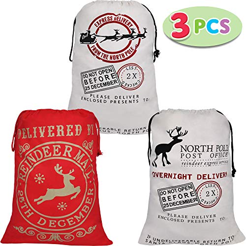 3 Santa Burlap Sack Christmas Gift Bags with Drawstring 26' x 19' for Large Xmas Package Storage, Event Party Supplies, Christmas Party Favors.