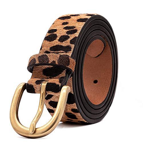 Women's Leopard Print Leather Belt for Pants Jeans Waist Belt with Alloy Buckle By LOKLIK (L(35'-39'))
