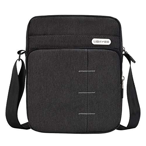 UBAYEE Umhängetasche Herren Klein für Tablet/iPad Mini bis 8,5 Zoll, Reise Schultertasche Herrentasche mit Viele Fach - Schwarz