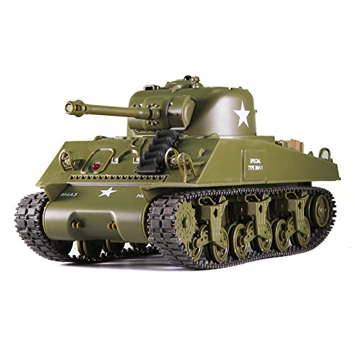 Remote Control 2.4Ghz 1/30 Scale US M4A3 Sherman RC IR Battle Tank w/Sound Lights