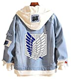 Gumstyle Anime Attack on Titan Denim Hoodie Jacket Adult Button Down Jeans Coat 1-M